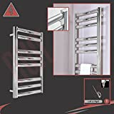 """500mm (w) x 800mm (h) Pre-Filled Electric """"Galaxy"""" Square Tube Polished Stainless Steel Towel Rail, Supplied with 150W Single Heat Electric Heating Element"""