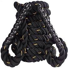 Q Sports Battle Rope (9M/15M 38mm/50mm) bootcamp Power corda per tutto il corpo resistente all' usura allenamento corda per esercizi cardio fat Burn Stamina Strong muscoli e comoda presa facile, 9 Meter 1.5 inch