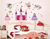 Zooarts Princess Castle Fairy Girl Wall Decal Sticker Kid Nursery Room Decor Mural Vinyl