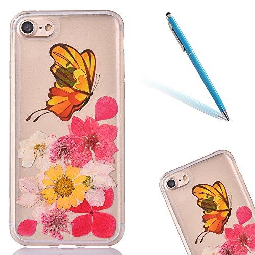 Cassa in Molle Rubber per Apple iPhone 6/6s 4.7(NON iPhone 6Plus/6sPlus 5.5), CLTPY Black Handmade Naturale Flower Essiccate Fiore Case Protettiva Ultra Sottile Morbido e Flessibile in TPU Silicone  Fiore 13