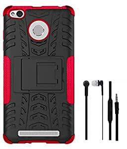TBZ Hard Grip Rubberized Kickstand Back Cover Case for Xiaomi Redmi 3s Prime with Earphone -Red