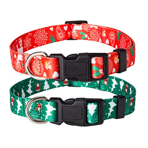 HOMIMP 2 Pack Christmas Dog Collars Breakaway Collar Set for Dogs Red & Green 35-50 cm
