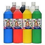 PICCOLINO Fingerfarben Set - 7 Flaschen à 750ml: rot, gelb, blau, grün, braun, schwarz, weiß