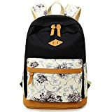 JAGENIE Floral Canvas Backpack for Students Girls Women Laptop Bag Schoolbag Rucksack