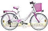 "Lombardo Bici Ragazza City Bike 24"" Rimini 24 6V White/FuchsiaGlossy"
