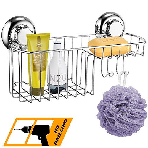 MaxHold Saugschraube Duschkorb Multifunktional, Befestigen ohne Bohren – Edelstahl rostfrei – Küchen & Badezimmer Aufbewahrung