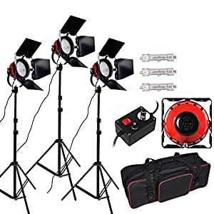 Dimmable Red Head Tungsten Photography Studio Continous Lighting Monolight kit: 3x800W Heat Releasing Rings Video lighting with Dimmer + 800W Halogen Tungsten Bulb +2m Aluminum Light Stand Tripod