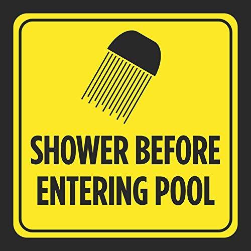 Monsety Aluminium-Schild Dusche vor dem Betreten des Poolbillard-Bildes in Gelb/Schwarz mit Warnhinweis für Schwimmbäder, Whirlpool, Sicherheits-Neuheit für Straße, Garage und drinnen