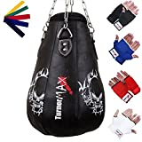 TurnerMAX Leather Pear Shape Maize Bag, Boxing Punch Bag, Filled, FREE Chain & Mitts (Black, 2Ft)