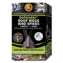 Defender Bird Spikes | Roof Ridge Deterrent | Glue & Guide | 3 Metre