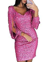 b08b2bf3109 GARYOB Damen Abendkleider Sexy V-Ausschnitt Cocktailkleid Glänzend Hoch  Maxikleider Dress für Hochzeit Festlich