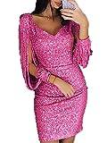 GARYOB Damen Abendkleider Sexy V-Ausschnitt Cocktailkleid Glänzend Hoch Maxikleider Dress für Hochzeit Festlich (M(EU36), Rose rot)