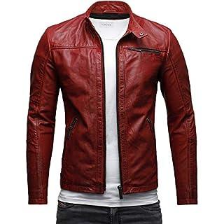 CRONE Epic Herren Lederjacke Cleane Basic Jacke Rindsleder (L, Heavy Washed Rot)