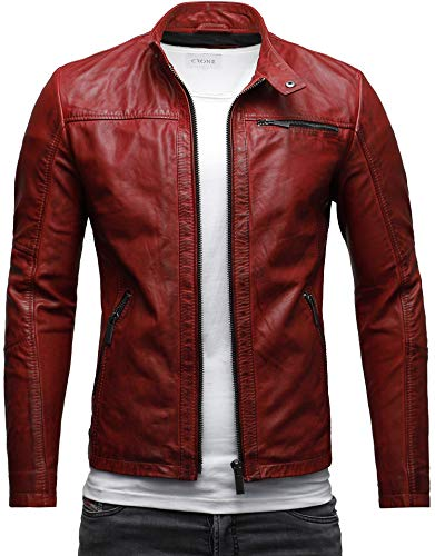 CRONE Epic Herren Lederjacke Cleane Basic Jacke Rindsleder (XXL, Heavy Washed Rot) (Bomber Usa Lederjacke)