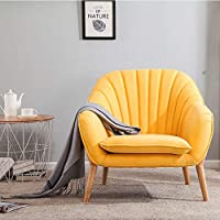 Wamiehomy Modern Suede Fabric Armchair Tub Occasional Chair with Solid Wood Legs for Living Room Bedroom Reception Contemporary (Yellow)