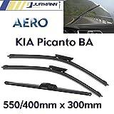 Jurmann Trade GmbH® 3er Komplett-Set Aero Scheibenwischer Vorne 550/400mm & Hinten 300mm