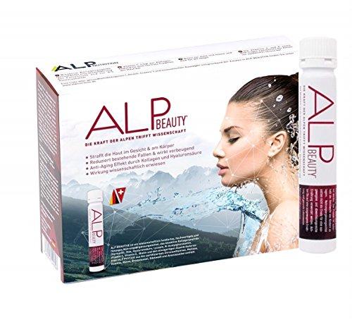 ALP BEAUTY Anti Aging Kollagen Trinkampullen (14x25 ml) mit Kollagen hydrolysat, Hyaluronsäure, Zink, Vitamin C, Biotin und Vitamin E für weniger Falten und Cellulite