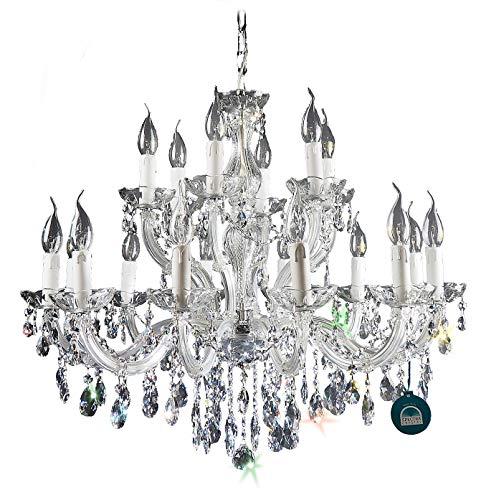 Cristallo lampadario a 18 luci argento scuro in SPECTRA cristallo di SWAROVSKI
