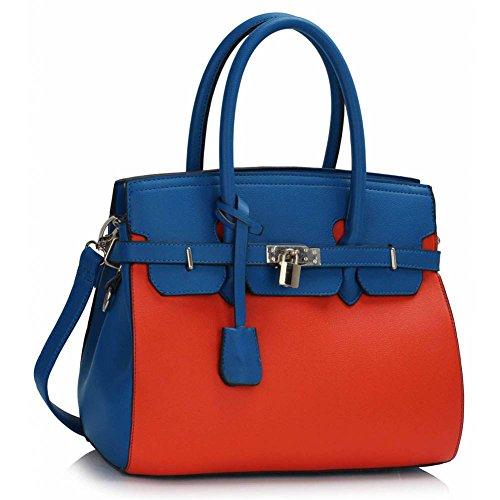 TrendStar Damen Entwerfer Imitat Leder Ebene Vorhängeschloss Für Leinentrage Schultern Taschen Handtaschen Blau/Orange