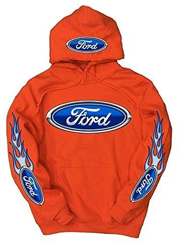 Ford Logo Hoodie, XXX-Large Orange