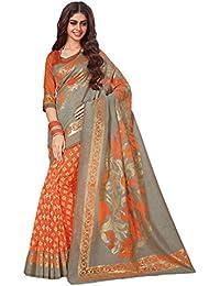 Salwar Studio Women's Grey & Orange Cotton Brasso Floral Printed Saree With Blouse Piece-AMRAPALI-34741