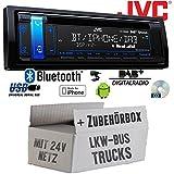 LKW Bus Truck 24V 24 Volt - JVC KD-DB98BT - Bluetooth | DAB+ | CD | MP3 | USB | Android | iPhone Autoradio - Einbauset