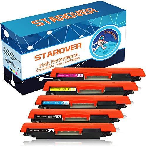 STAROVER 5x Kompatible Tonerkartuschen für HP 126A CE310A Toner für HP LaserJet Pro 100 color MFP M175 M175A M175nw HP TopShot LaserJet Pro M275 M275NW MFP HP LaserJet Pro CP1020 CP1025 CP1025nw