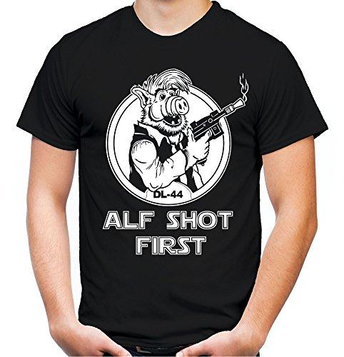 Alf Shot First Männer und Herren T-Shirt | Vintage Star Wars Han Solo Geschenk (4XL, ()
