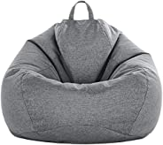 WAQIA Bean Bag Chair Cover Only Without Bean Filling Extra Large Washable Linen Stuffed Animal Storage Stuffab