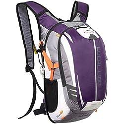 Local Lion 18L Mochila de Hidratación Ciclismo de Deportes al Aire Libre de Senderismo Excursion Multifuncional Nylon para Unisex Color Púrpura