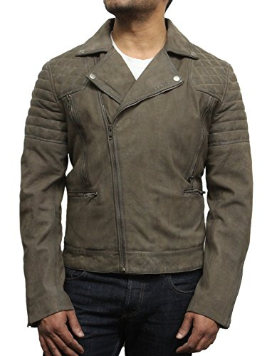 Brandslock da uomo Buffed Brando motociclista Giacca in pelle Retro Iconic Style Beige