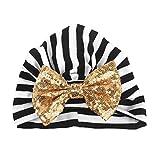 Ears Boys Girls Toddlers Hat Cap Headwear Neugeborene Mädchen Jungen Streifen Paillette Bowknot Baumwolle Cotton Sleep Cap Headwear Hat (Gold)