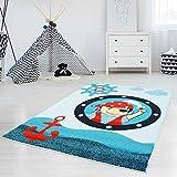 myshop24h Teppich Kinderteppich Kinderzimmer Spielteppich Jungen Pirat Schiff Maritim Anker Schwert Blau Rot, Moda:160 x 225 cm