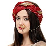 #2: The Luxor Traditional Gold Plated Bridal Jewellery Nose Ring nathiya with Long Chain for Girls and Women