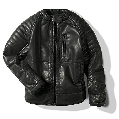 LJYH - Chaqueta de Piel sintética Unisex para niños, Cuello de Motocicleta, Abrigo de Piel Negro Negro...