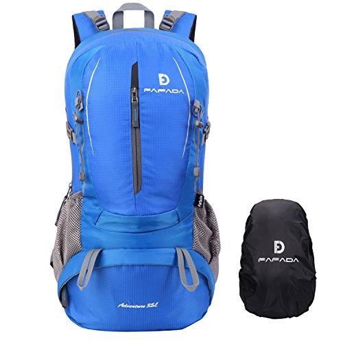 Fafada Mochila de Senderismo Montaña Hombre Mujer Mochila del Viaje Marcha Deporte Casual Escalada Camping Trekking con Cubierta de Lluvia Impermeable (Azul 35Litros)