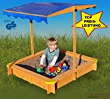 Sandkasten mit verstellbarem Dach inkl. Bodenplane, Sitzecken, lasiert, UV Schutz 80
