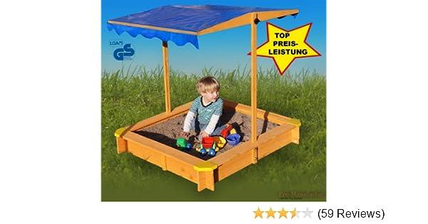 Sandkasten Mit Verstellbarem Dach Inkl Bodenplane Sitzecken Lasiert UV Schutz 80 Amazonde Spielzeug