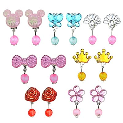 LILYS PET Little Girl Play Clip-on Earrings,Pretend Play Dress Up Accessories Toy Jewelry Packed in Gift Box