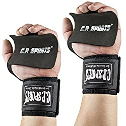 Training Pack - CPSports Bodybuilding Wrist Wraps + Handle Pads 10x10 // Wrist Bandage - Color: black Bandage for weight training + fitness