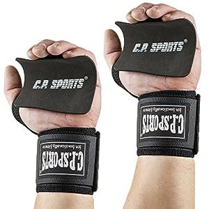 Trainingspack – CPSports Bodybuilding Wrist Wraps + Griffpolster 10×10 // Handgelenkbandage – Farbe: schwarz Bandage für Kraftsport + Fitness