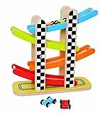 Tooky Toy Holz-Wippe im Parkhaus-Design mit farbigen Autos und buntem Turm