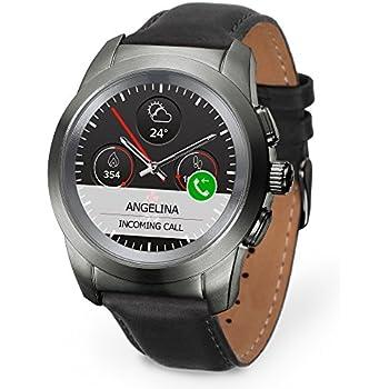 MyKronoz ZeTime Premium Reloj Inteligente híbrido 39mm con Agujas mecánicas sobre una Pantalla a Color táctil – Petite Cepillado Titanio/Cuero Negro