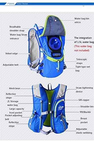 AONIJIE Leichter Männer Frauen Marathon Radfahren Laufen Rucksack mit Trinkblase Blau+ 1.5L Trinkblase