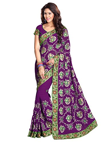 SOURBH Women's Heavy Embroidered Wedding Bridal Saree with blouse piece (3791_Purple)