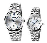 kühle Männer und Frauen einzigartige Quarzarmbanduhr mit leuchtenden blauen Markierungen stammen Paaruhr (2er-Set)