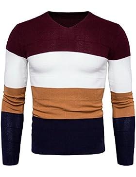 MEI&S Los hombres Chic jersey de punto fino con cuello en V Clásico Suéter de puente