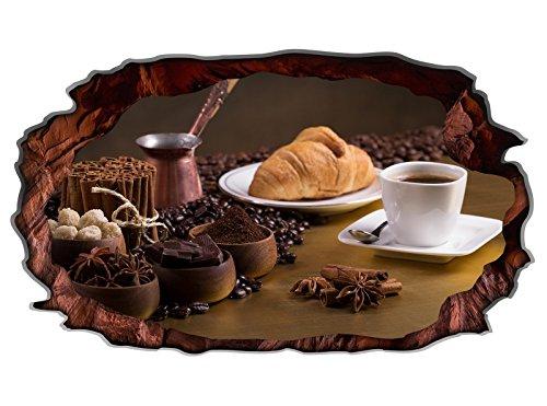 3D Wandtattoo Kaffee Tasse Küche Coffee Bohnen Wandbild Cafe selbstklebend Wandmotiv Wohnzimmer Wand Aufkleber 11E720, Wandbild Größe E:98cmx58cm (Kaffee-tassen-küche)