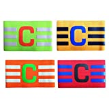 super-bab 3 Stück Captain Armband für Youth Elastic Kapitänsbinde für Fußball & Rugby, C Buchstabe Fußball Captain Arm bandand Streifen, Red, Green, Orange and Yellow