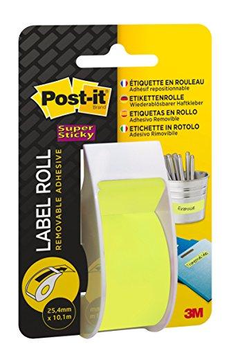 Post-it 36776 Etichette Riposizionabili in Rotolo con Adesivo Super Sticky, Dispenser 8 Righe, Verde Neon